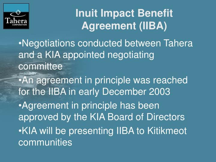 Inuit Impact Benefit Agreement (IIBA)