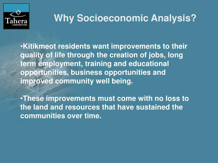 Why Socioeconomic Analysis?