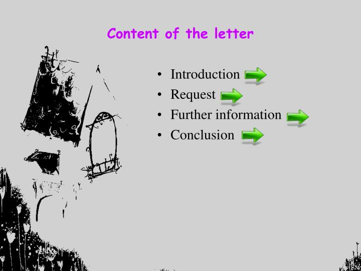 Content of the letter