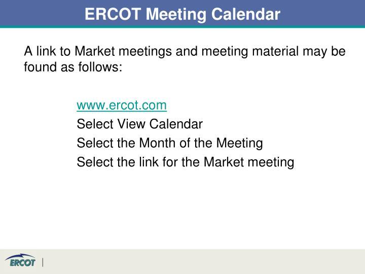 ERCOT Meeting Calendar