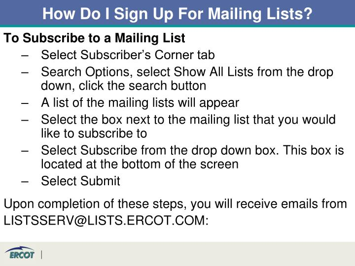 How Do I Sign Up For Mailing Lists?