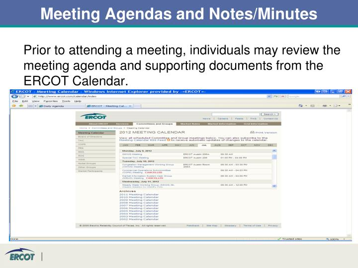 Meeting Agendas and Notes/Minutes
