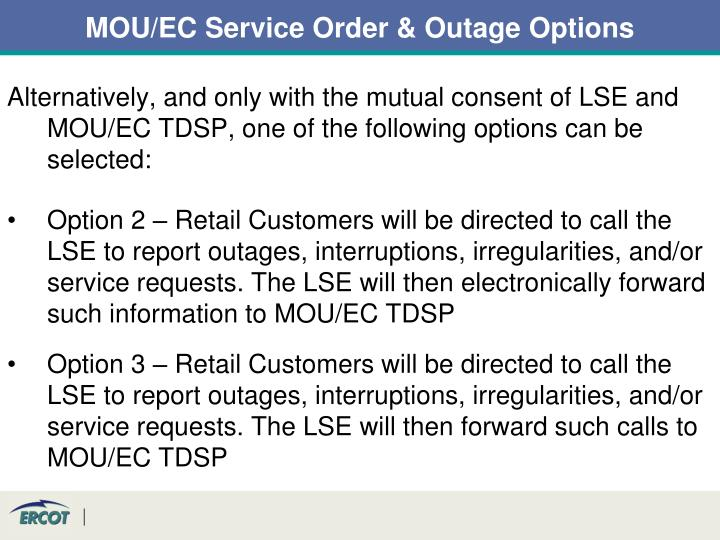 MOU/EC Service Order & Outage Options