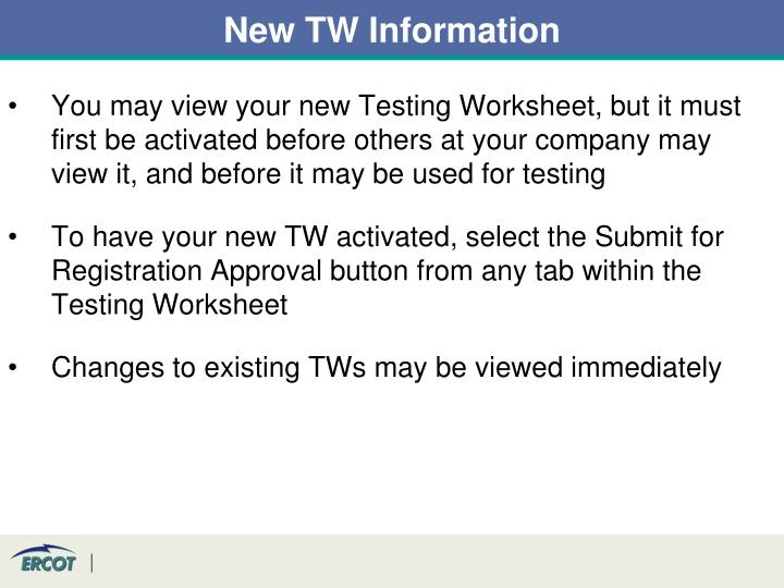 New TW Information