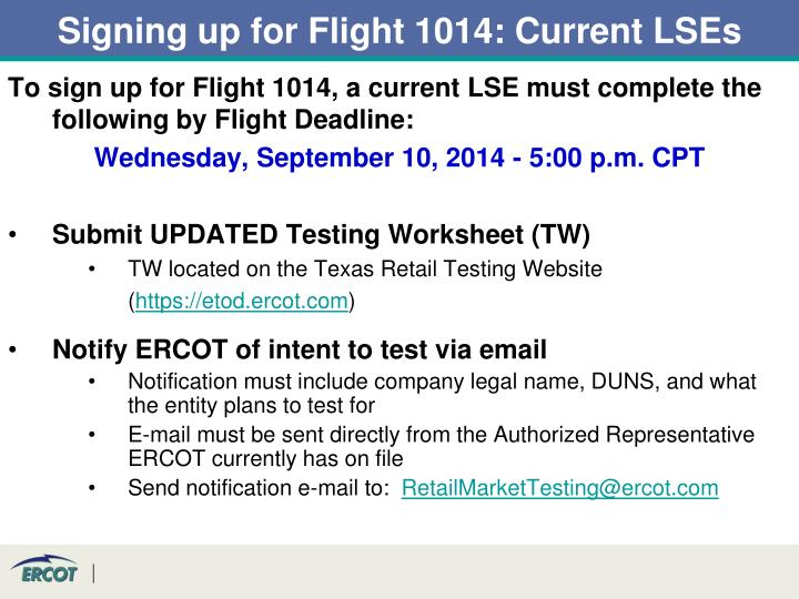 Signing up for Flight 1014: Current LSEs