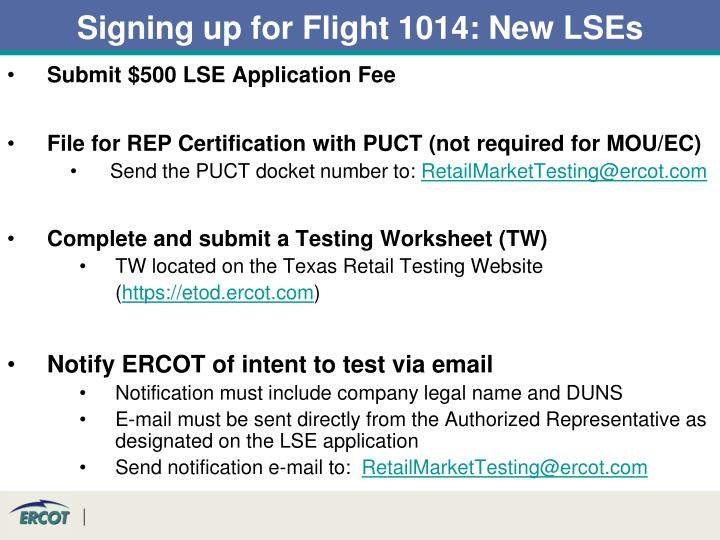 Signing up for Flight 1014: New LSEs