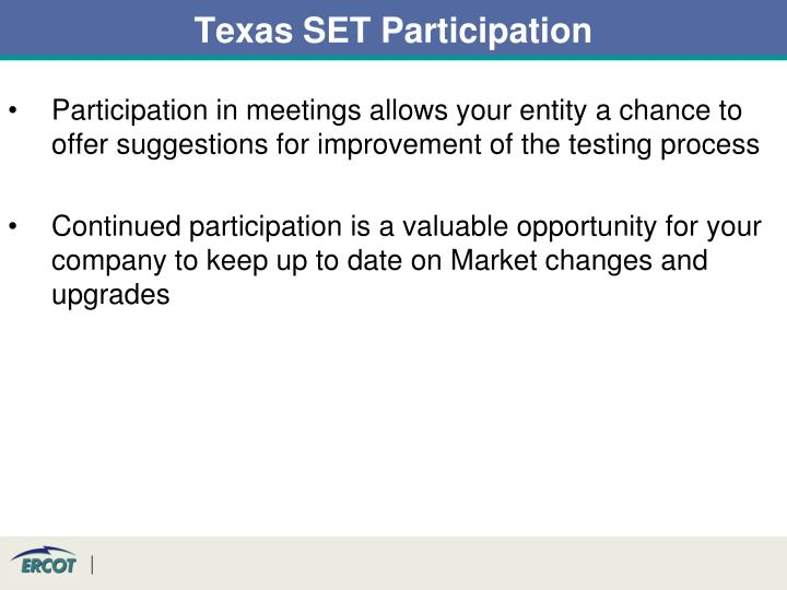 Texas SET Participation