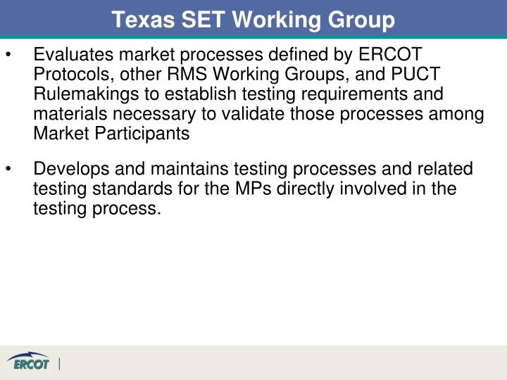 Texas SET Working Group