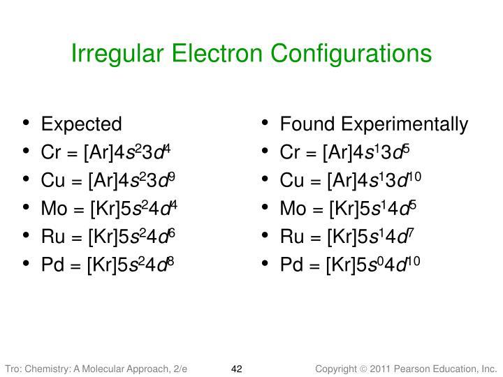 Irregular Electron Configurations