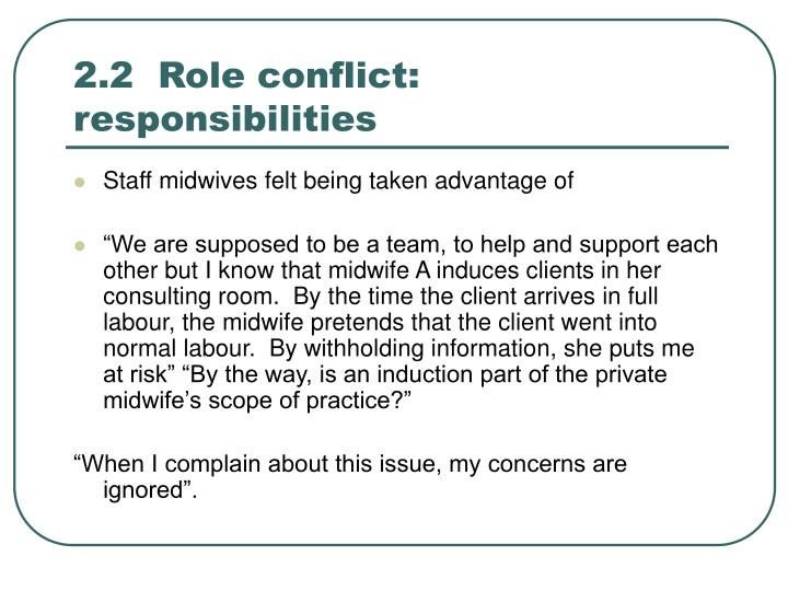 2.2  Role conflict: responsibilities