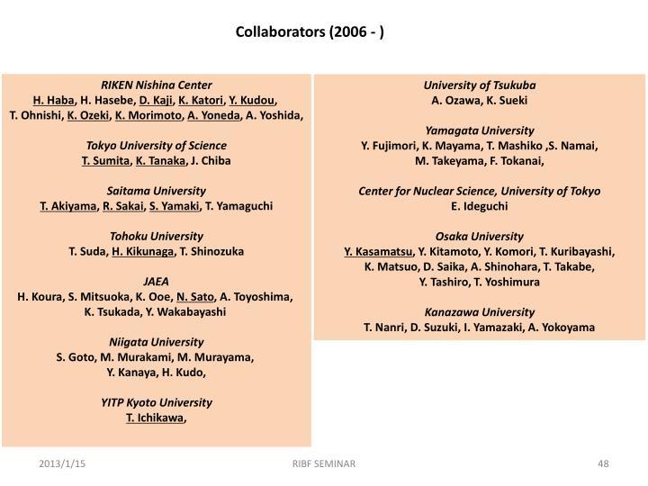 Collaborators (2006 - )
