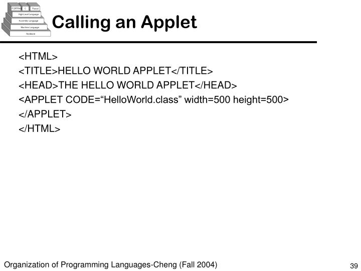 Calling an Applet
