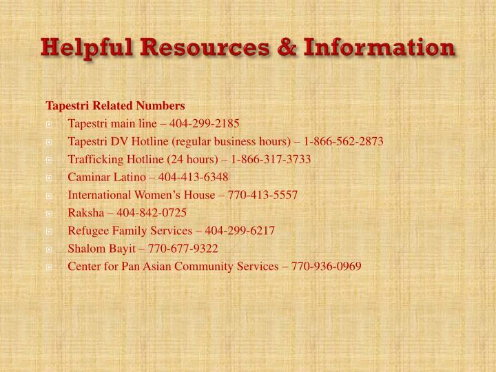 Helpful Resources & Information