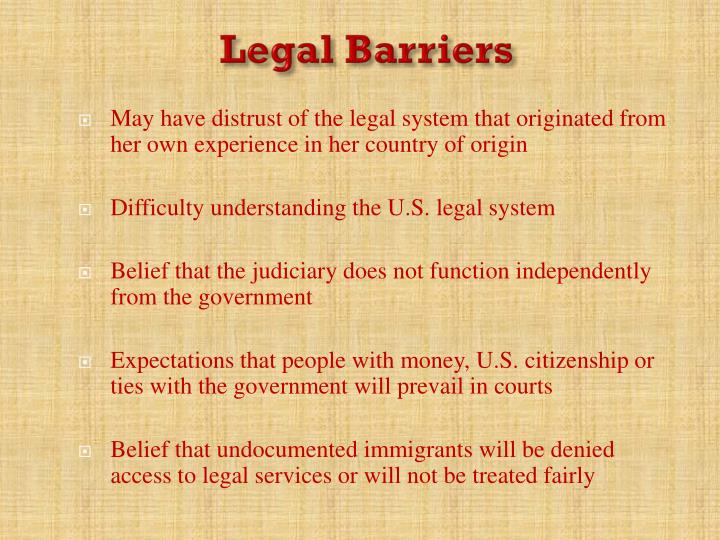 Legal Barriers