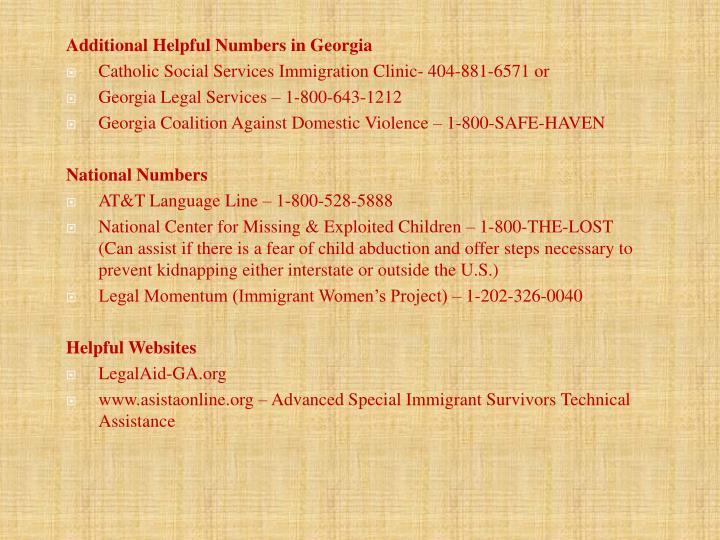 Additional Helpful Numbers in Georgia