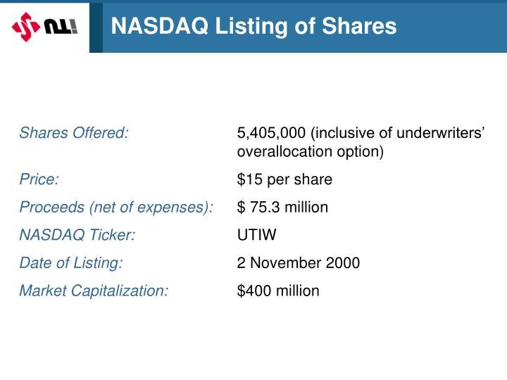 NASDAQ Listing of Shares