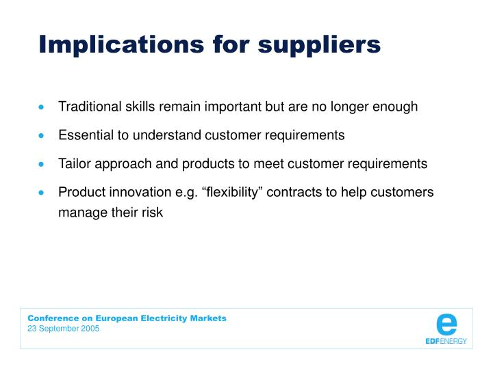 Implications for suppliers