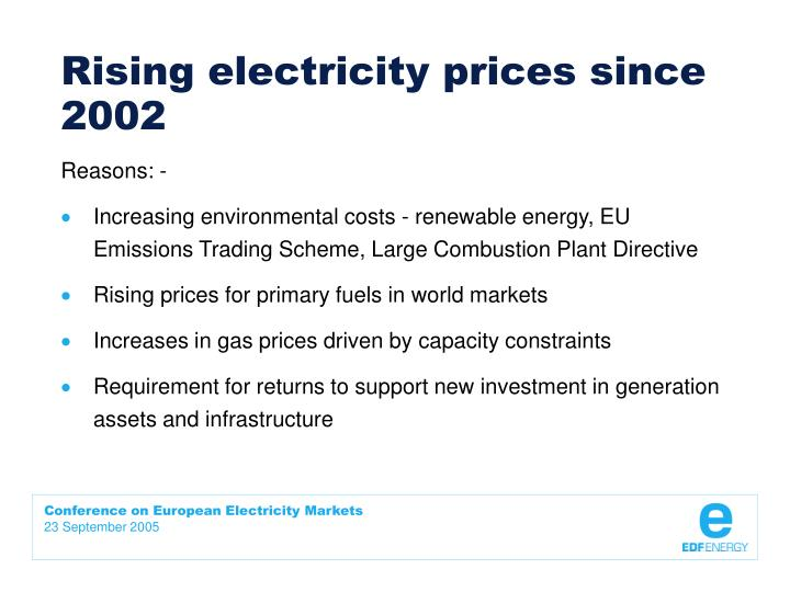 Rising electricity prices since 2002