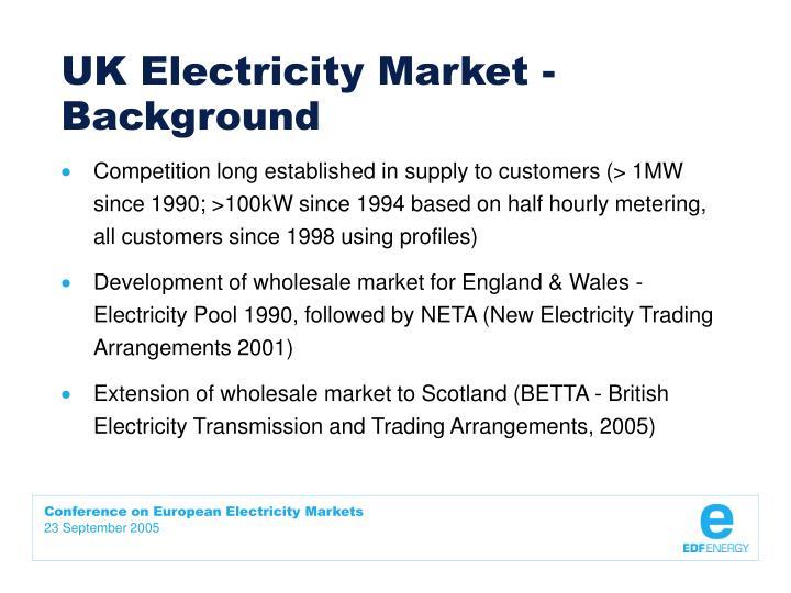 UK Electricity Market - Background