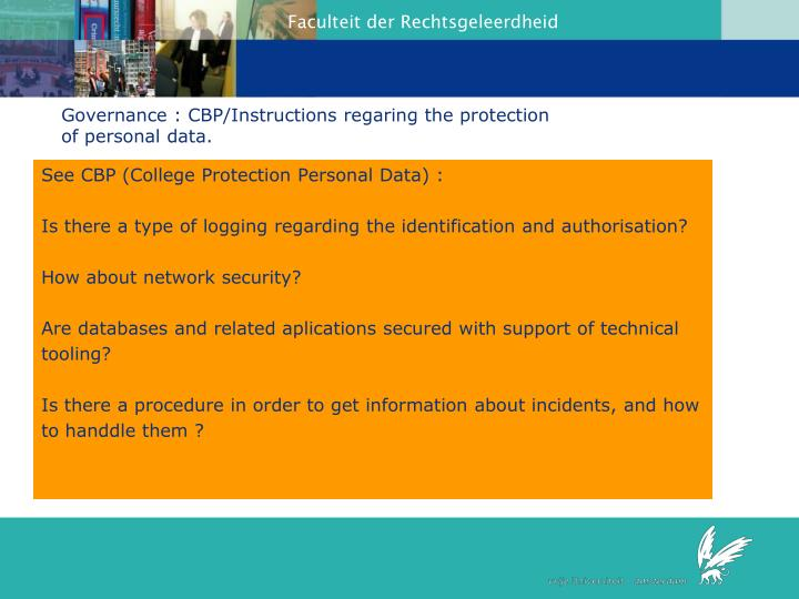 Governance : CBP/Instructions regaring the protection of personal data.