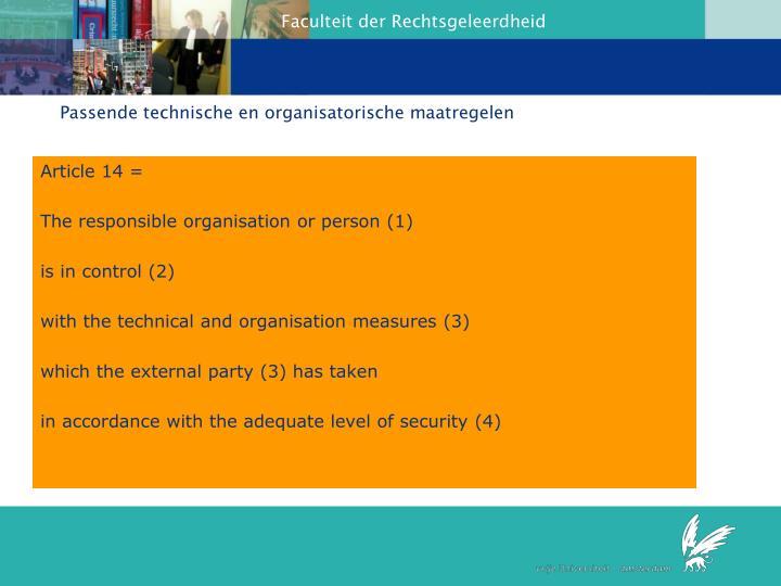 Passende technische en organisatorische maatregelen