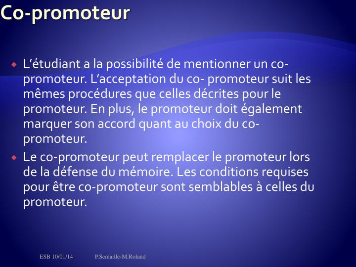 Co-promoteur