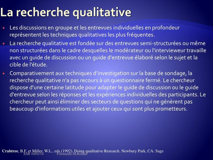 La recherche qualitative