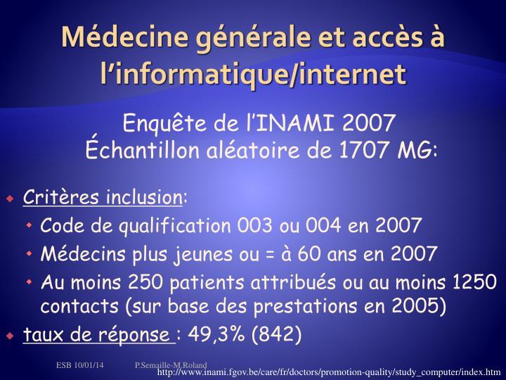 Médecine générale et accès à l'informatique/internet