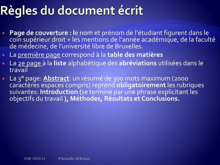 Règles du document écrit
