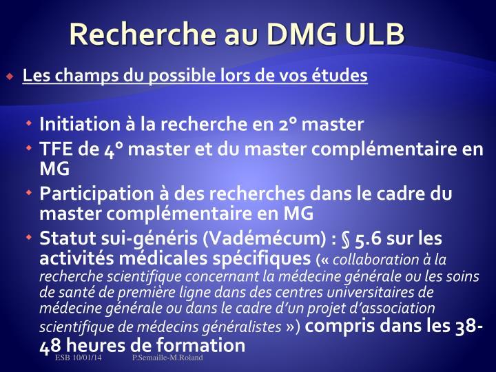 Recherche au DMG ULB
