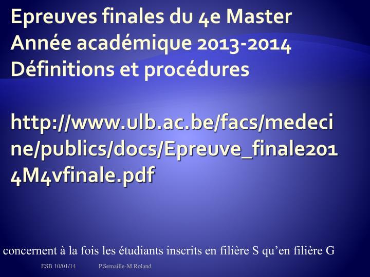 Epreuves finales du 4e Master