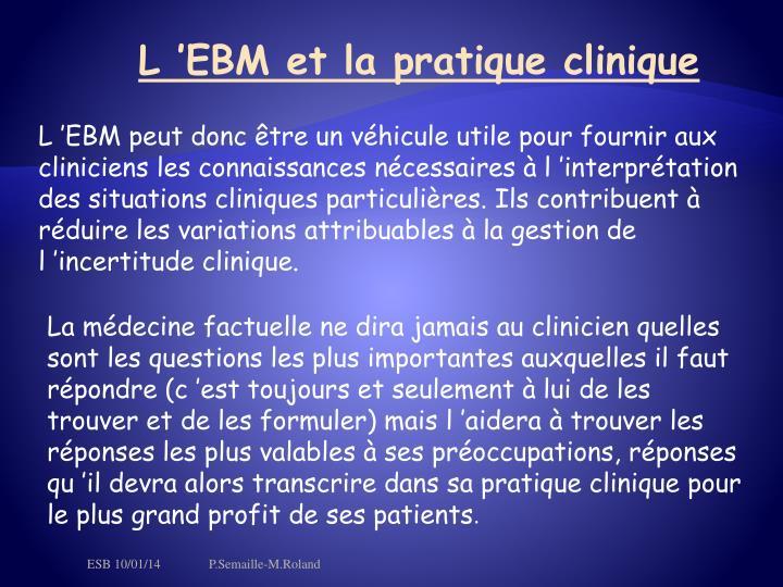L'EBM et la pratique clinique