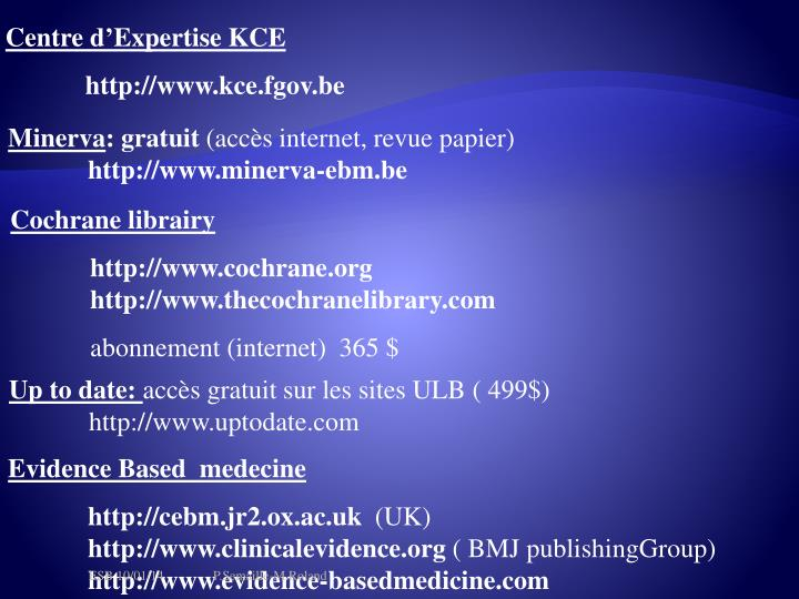 Centre d'Expertise KCE