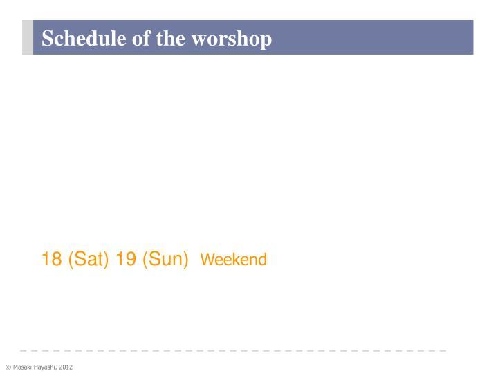 Schedule of the worshop