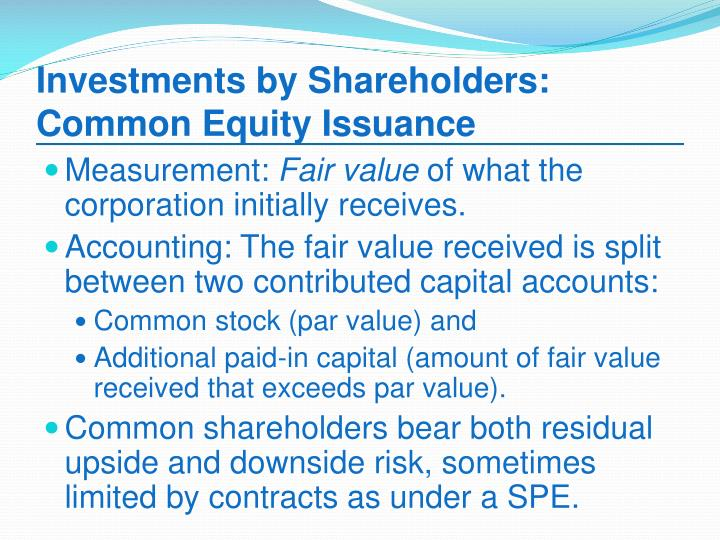Investments by shareholders common equity issuance