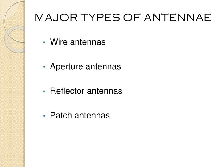 MAJOR TYPES OF ANTENNAE