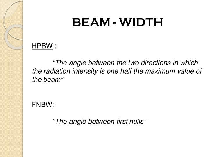BEAM - WIDTH