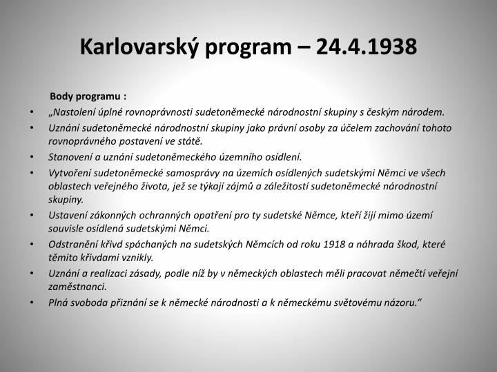 Karlovarský program – 24.4.1938