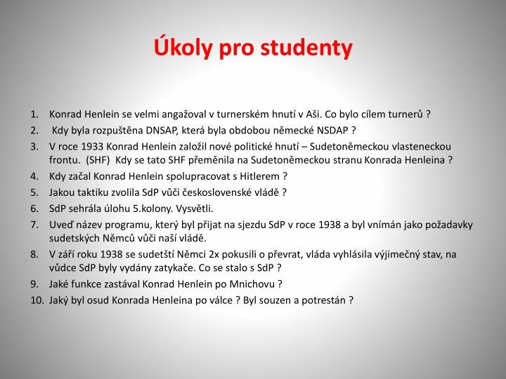 Úkoly pro studenty