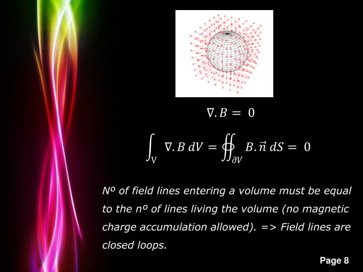 Nº of field lines entering a volume must be equal to the nº of lines living the volume (no magnetic charge accumulation allowed). => Field lines are closed loops.