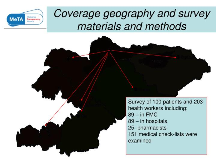 Coverage geography and survey materials and methods