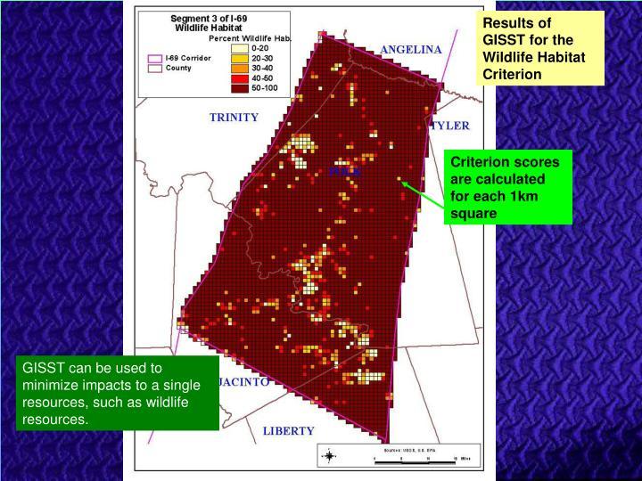 Results of GISST for the Wildlife Habitat Criterion