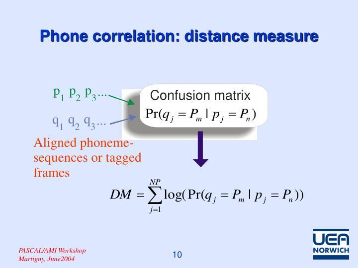 Phone correlation: distance measure