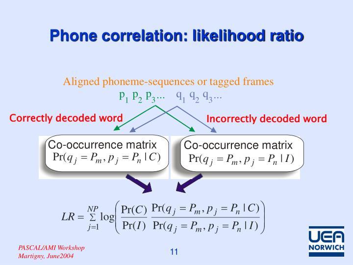 Phone correlation: likelihood ratio