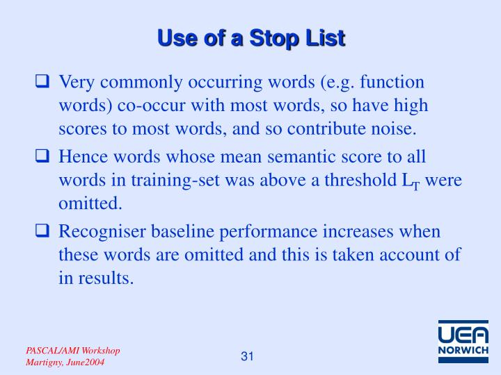 Use of a Stop List