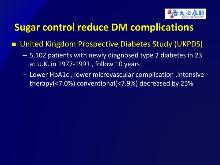 Sugar control reduce DM complications