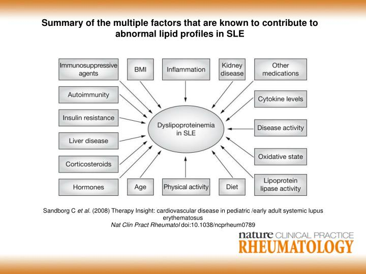 Summary of the multiple factors that are known to contribute to abnormal lipid profiles in SLE