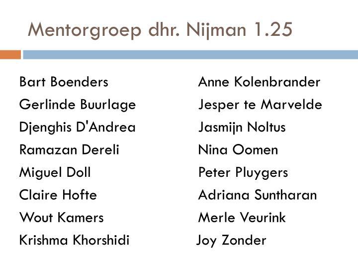 Mentorgroep dhr. Nijman 1.25