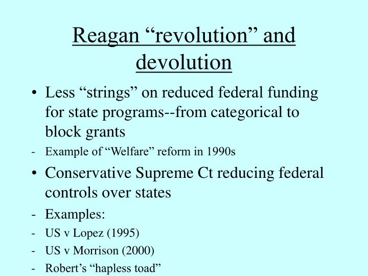 "Reagan ""revolution"" and devolution"