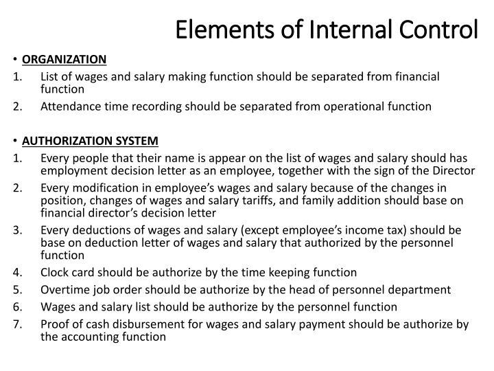 Elements of Internal Control